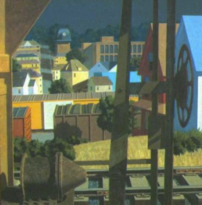 "Freights in Afternoon Sunlight 1981 54"" x 54"" <br/> Private Collection"